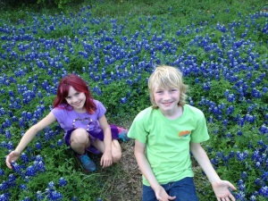 Me and my sister in the bluebonnets that were EVERYWHERE at Lost Pines!